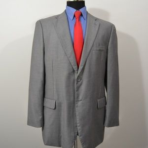 Lineage 44R Sport Coat Blazer Suit Jacket Gray Pol